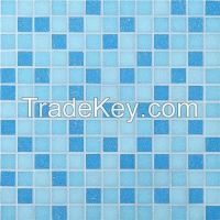 blue glass mosaic for swimming pool