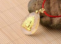 Crystal crystal new Maitreya Buddha Pendant inlaid with gold
